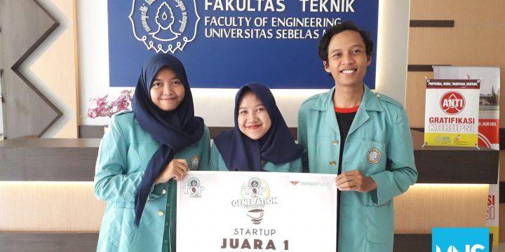 Mahasiswa Teknik Elektro UNS Raih Juara I Startup TOP Generation Challenge